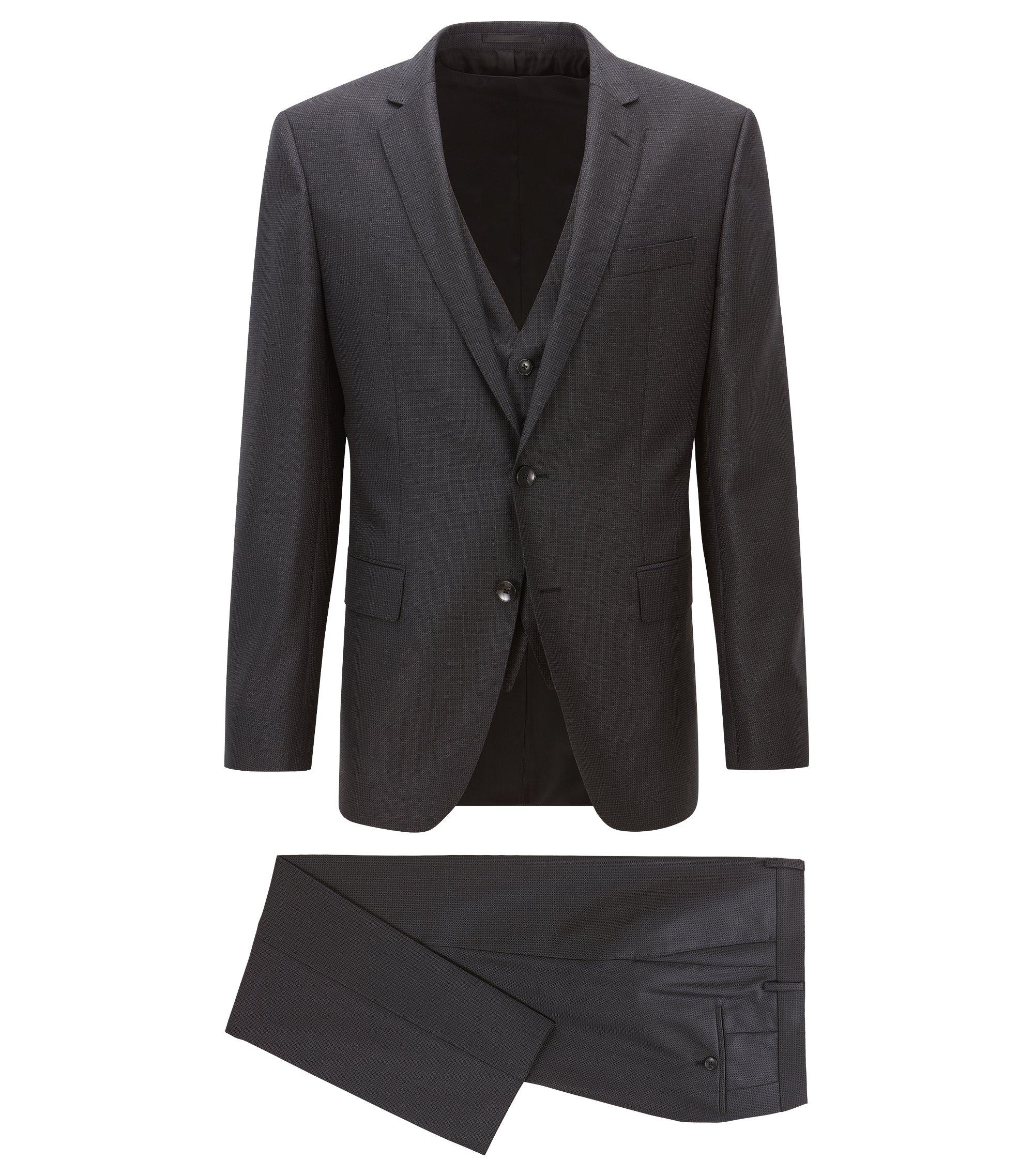 Nailhead Virgin Wool 3-Piece Suit, Slim Fit | Huge/Genius WE, Open Grey