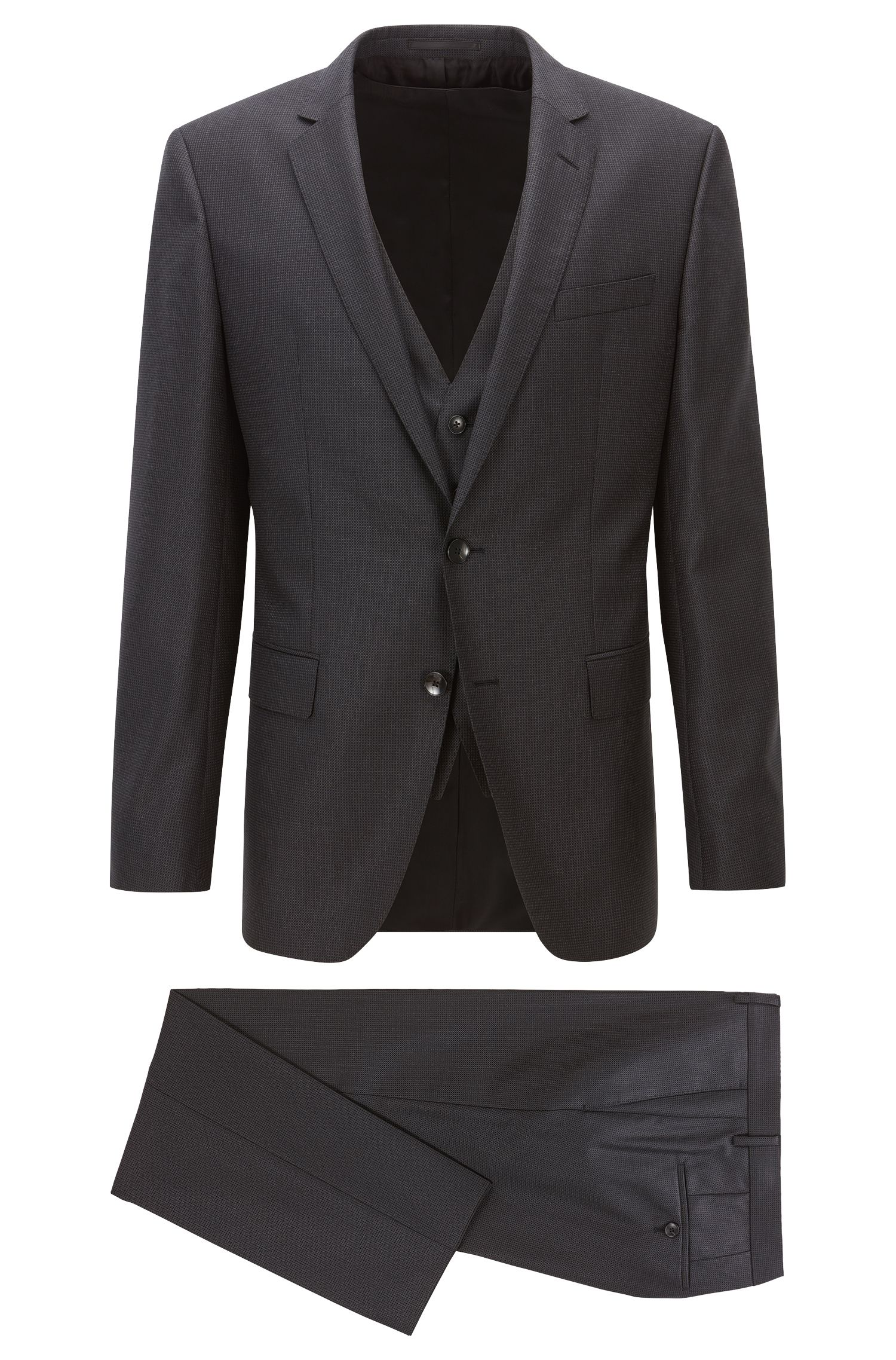 Nailhead Super 120 Virgin Wool 3-Piece Suit, Slim Fit | Huge/Genius WE