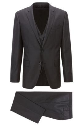 Nailhead Super 120 Virgin Wool 3-Piece Suit, Slim Fit | Huge/Genius WE, Open Grey
