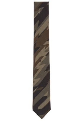 Camo Viscose Slim Tie, Dark Green
