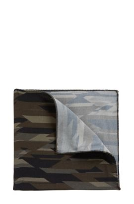 Camo Viscose Pocket Square, Dark Green