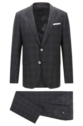 Plaid Virgin Wool Suit with Stretch Tailoring, Slim Fit | Hutson/Gander, Open Grey