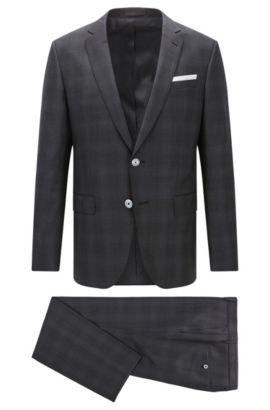 'Hutson/Gander' | Slim Fit, Plaid Virgin Wool Suit, Open Grey