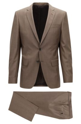 Italian Super 130 Virgin Wool Suit, Slim Fit | Huge/Genius, Brown