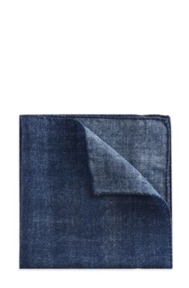 Plaid Italian Wool Pocket Square, Blue