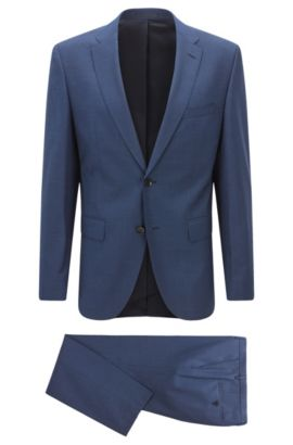 Nailhead Virgin Wool Suit, Regular Fit | Johnstons/Lenon, Blue
