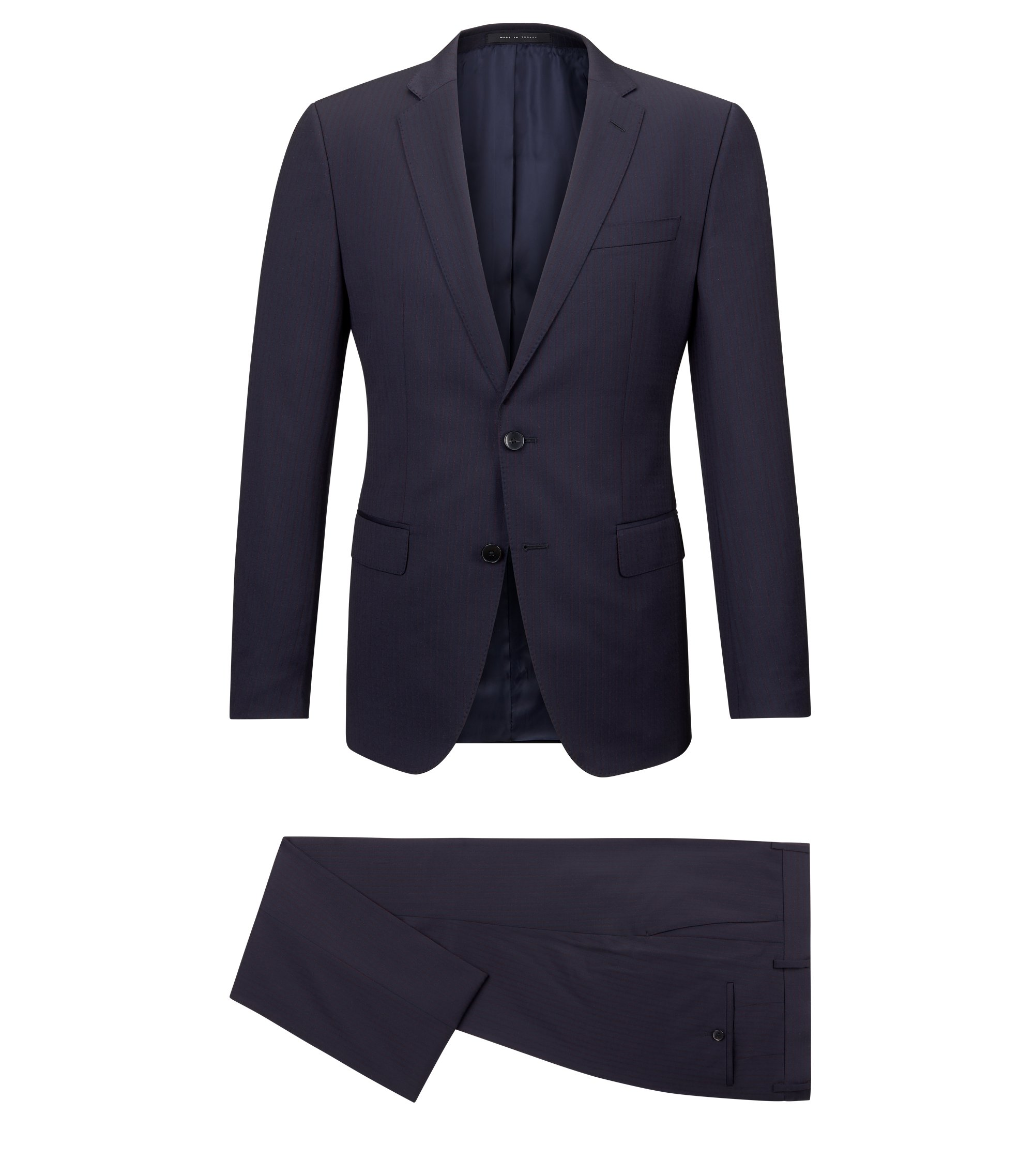 Striped Italian Wool Suit, Slim Fit | Huge/Genius, Dark Blue