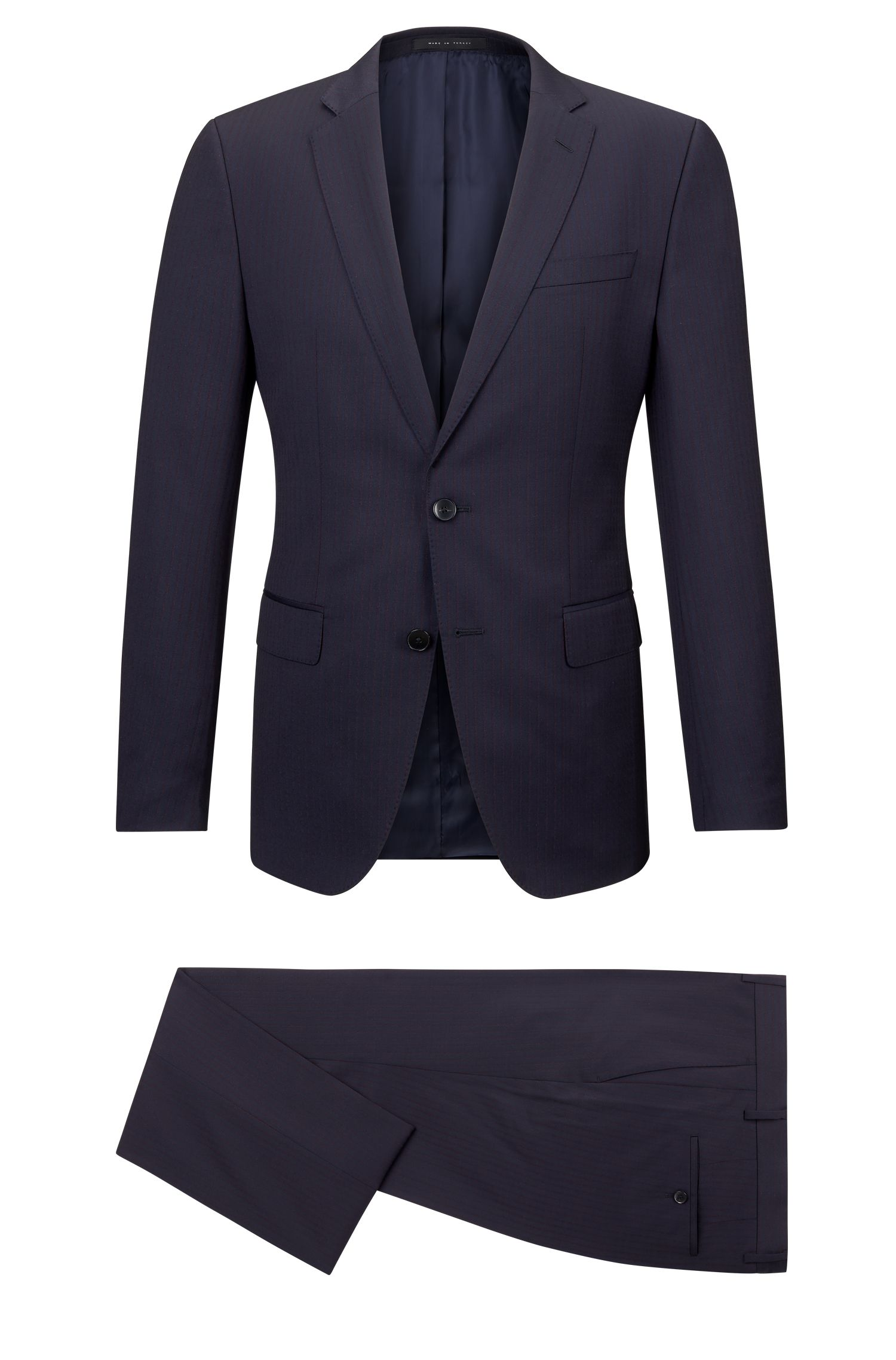 Striped Italian Wool Suit, Slim Fit | Huge/Genius
