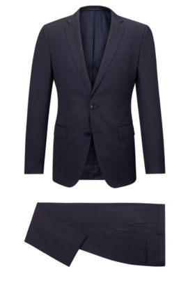 'Huge/Genius' | Slim Fit, Striped Super 100 Virgin Wool Suit, Dark Blue