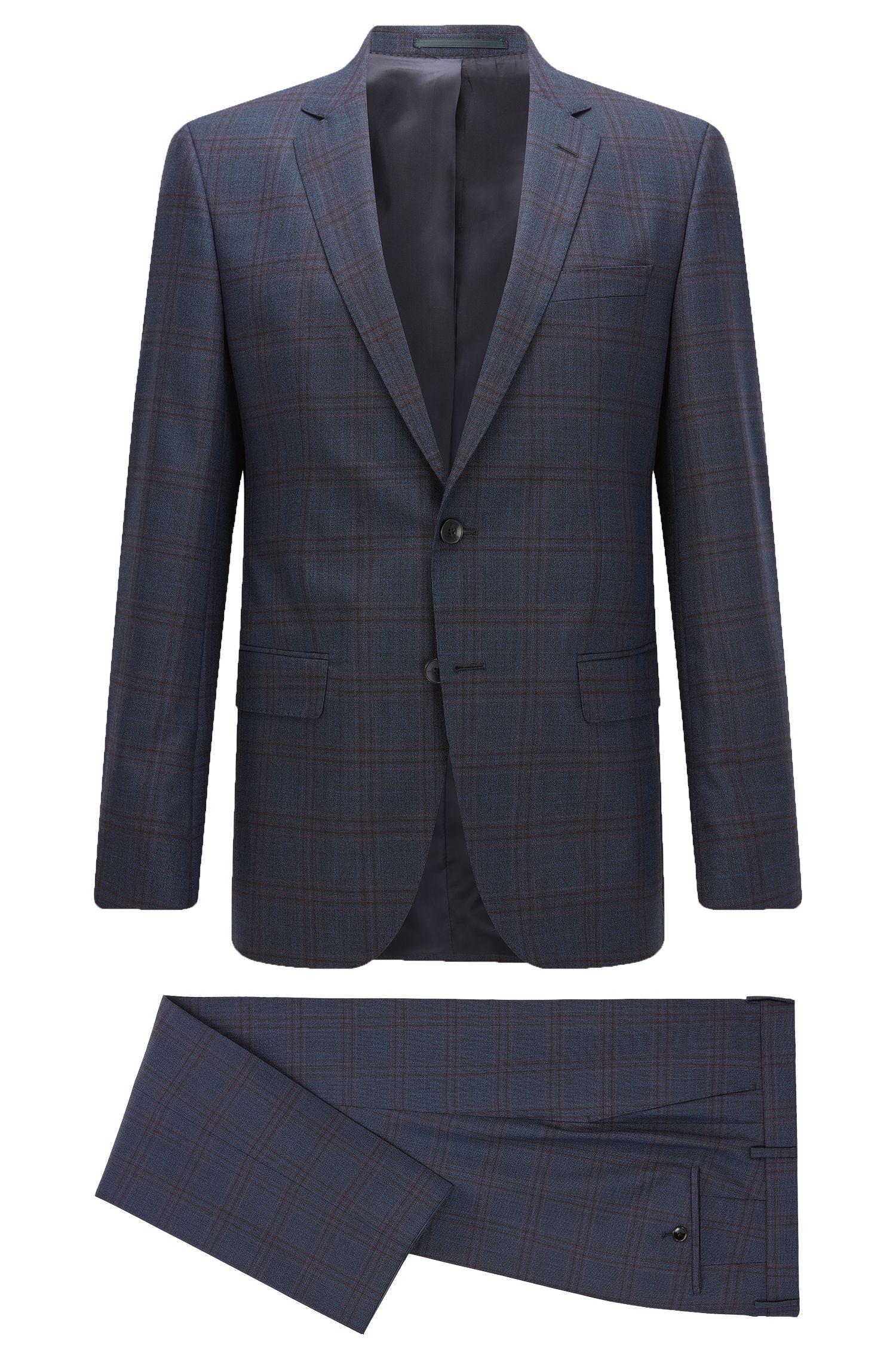 Windowpane Super 100 Virgin Wool Suit, Slim Fit | Huge/Genius