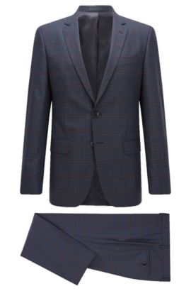 Windowpane Super 100 Virgin Wool Suit, Slim Fit | Huge/Genius, Dark Blue