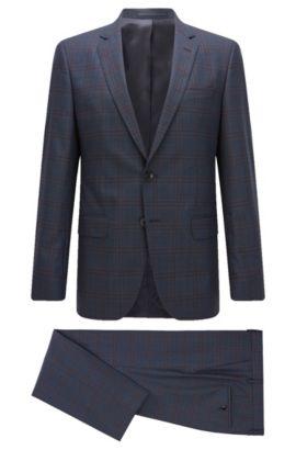 Windowpane Super 100 Virgin Wool Suit, Slim Fit | Huge/Genius, Dark Blue