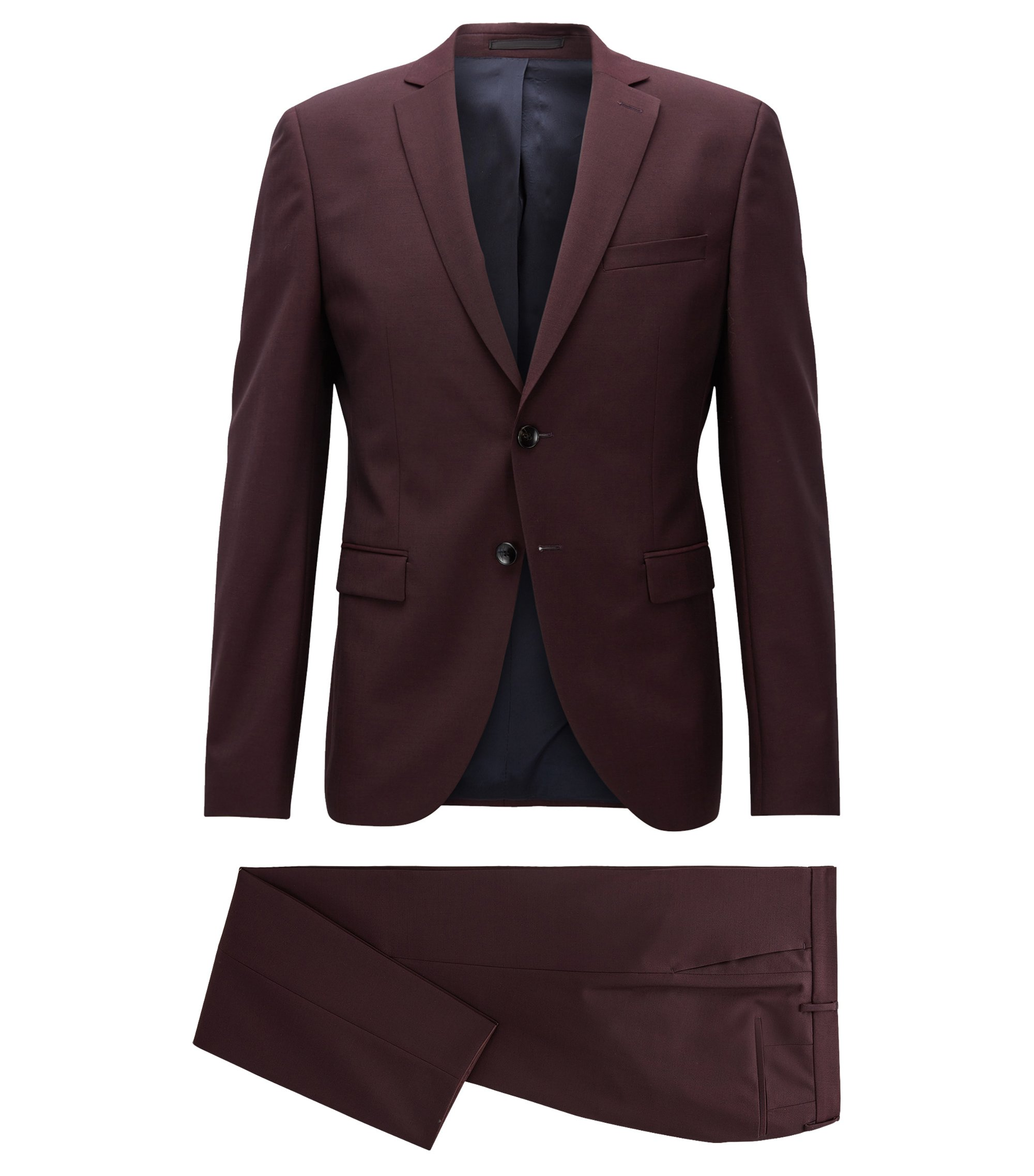 Virgin Wool Mohair Suit, Extra Slim Fit | Reymond/Wenton, Dark Red