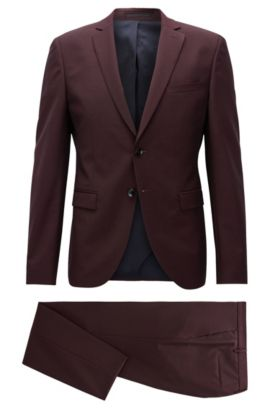 Virgin Wool Mohair Suit with Stretch Tailoring, Extra Slim Fit | Reymond/Wenton, Dark Red