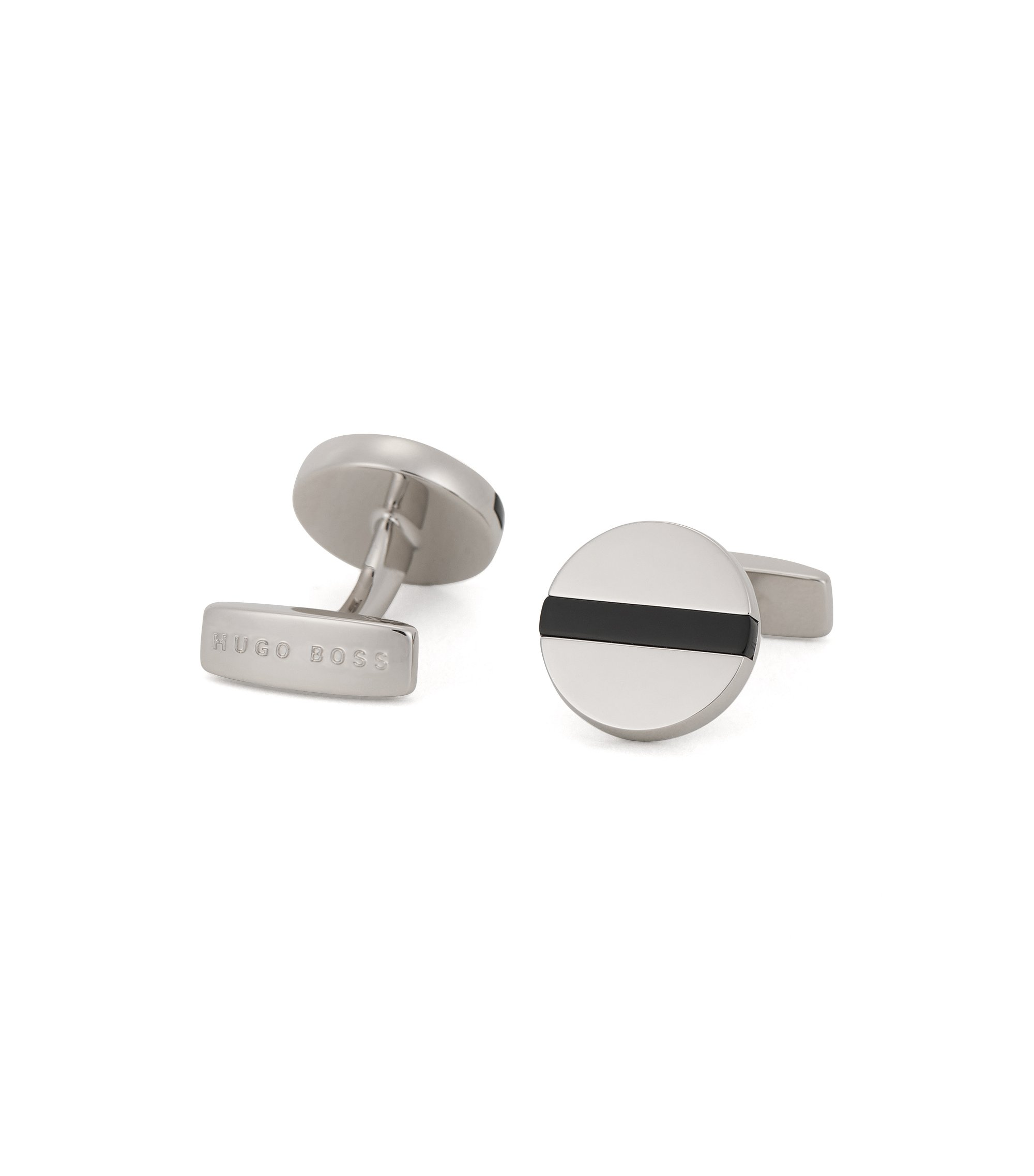 Enamel & Brass Cufflinks | Nik, Black