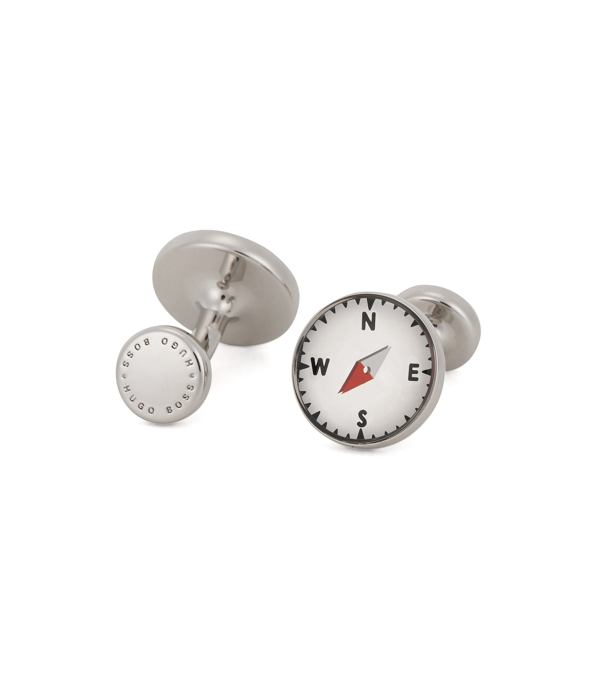 Enamel & Brass Cufflinks | West, Light Grey