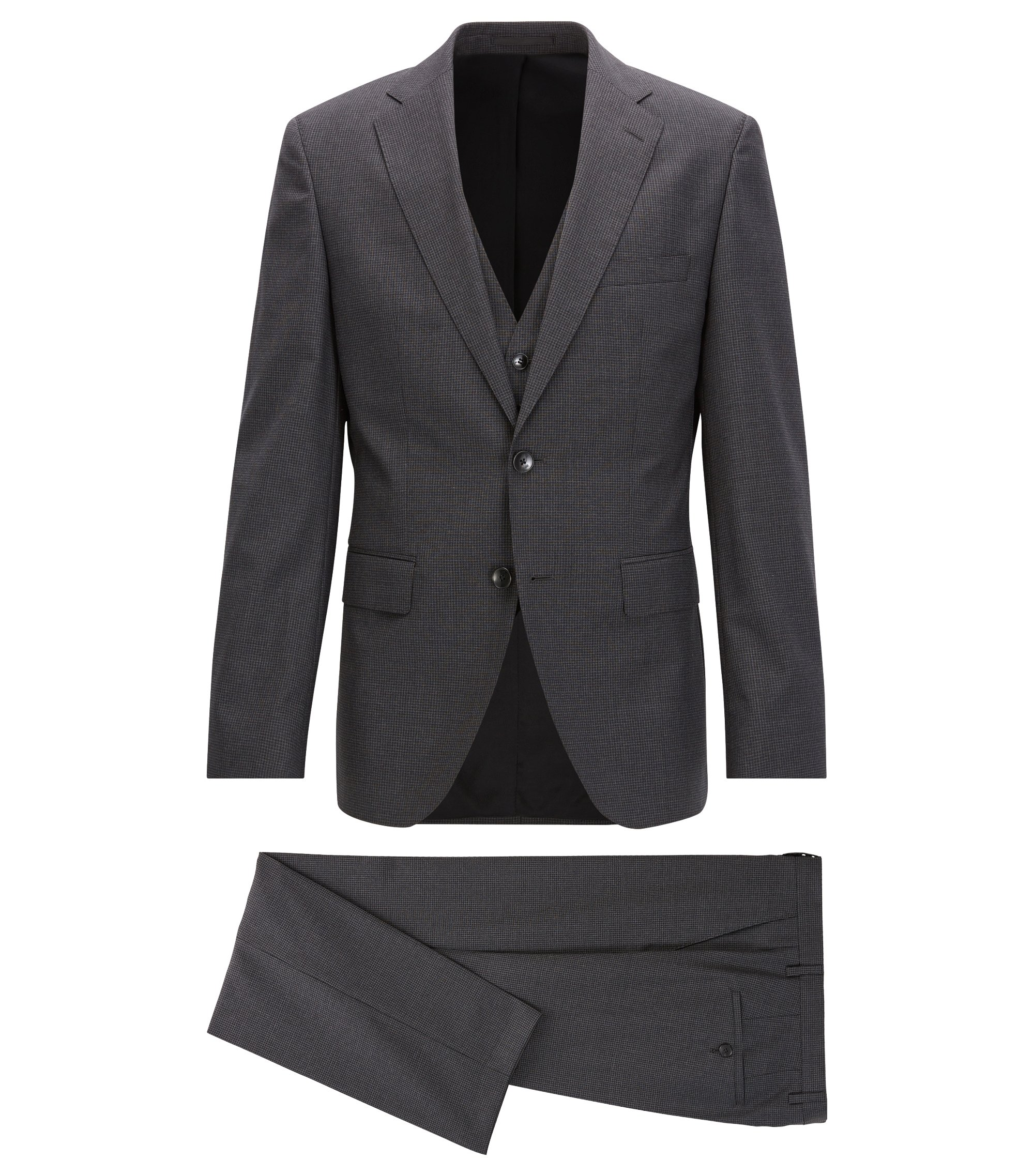 Virgin Wool 3-Piece Suit, Regular Fit | Jerron/Lenon WE, Open Grey