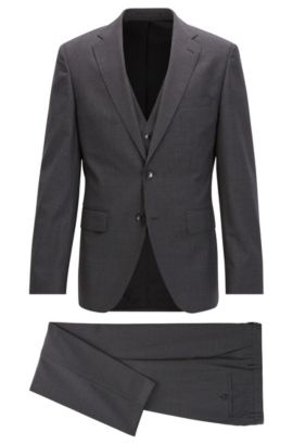 Microcheck Virgin Wool 3-Piece Suit with Stretch Tailoring, Regular Fit | Jerron/Lenon WE, Open Grey