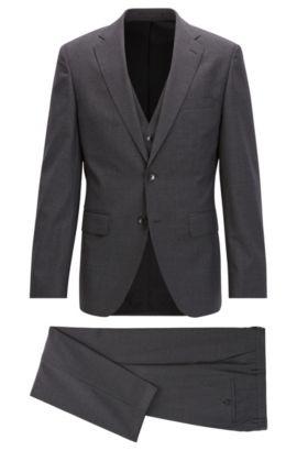 Microcheck Virgin Wool 3-Piece Suit, Regular Fit | Jerron/Lenon WE, Open Grey