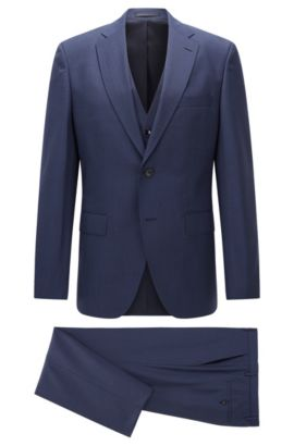 Microcheck Virgin Wool 3-Piece Suit with Stretch Tailoring, Regular Fit | Jerron/Lenon WE, Blue