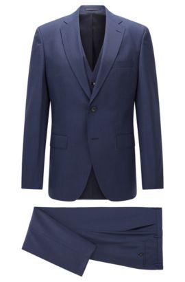 Microcheck Virgin Wool 3-Piece Suit, Regular Fit | Jerron/Lenon WE, Blue