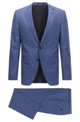 Birdseye Super 110 Virgin Wool Suit, Slim Fit | Huge/Genius, Blue