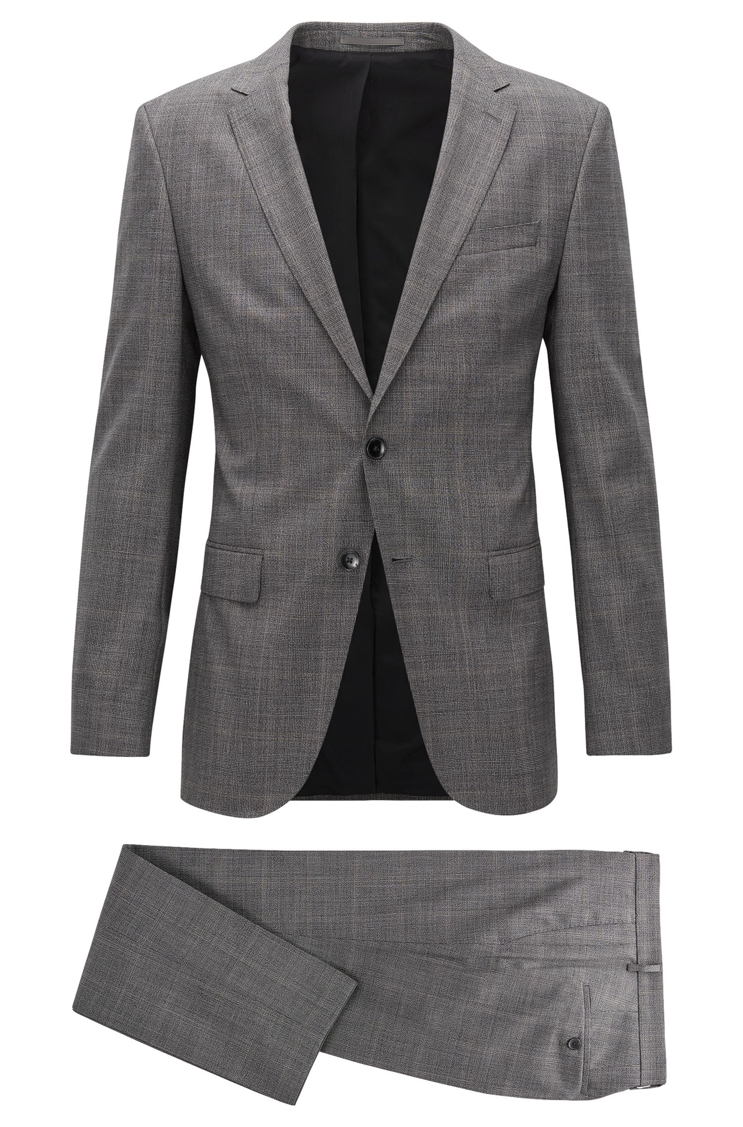 Stretch Tailoring Plaid Wool Suit, Slim Fit | Novan/Ben