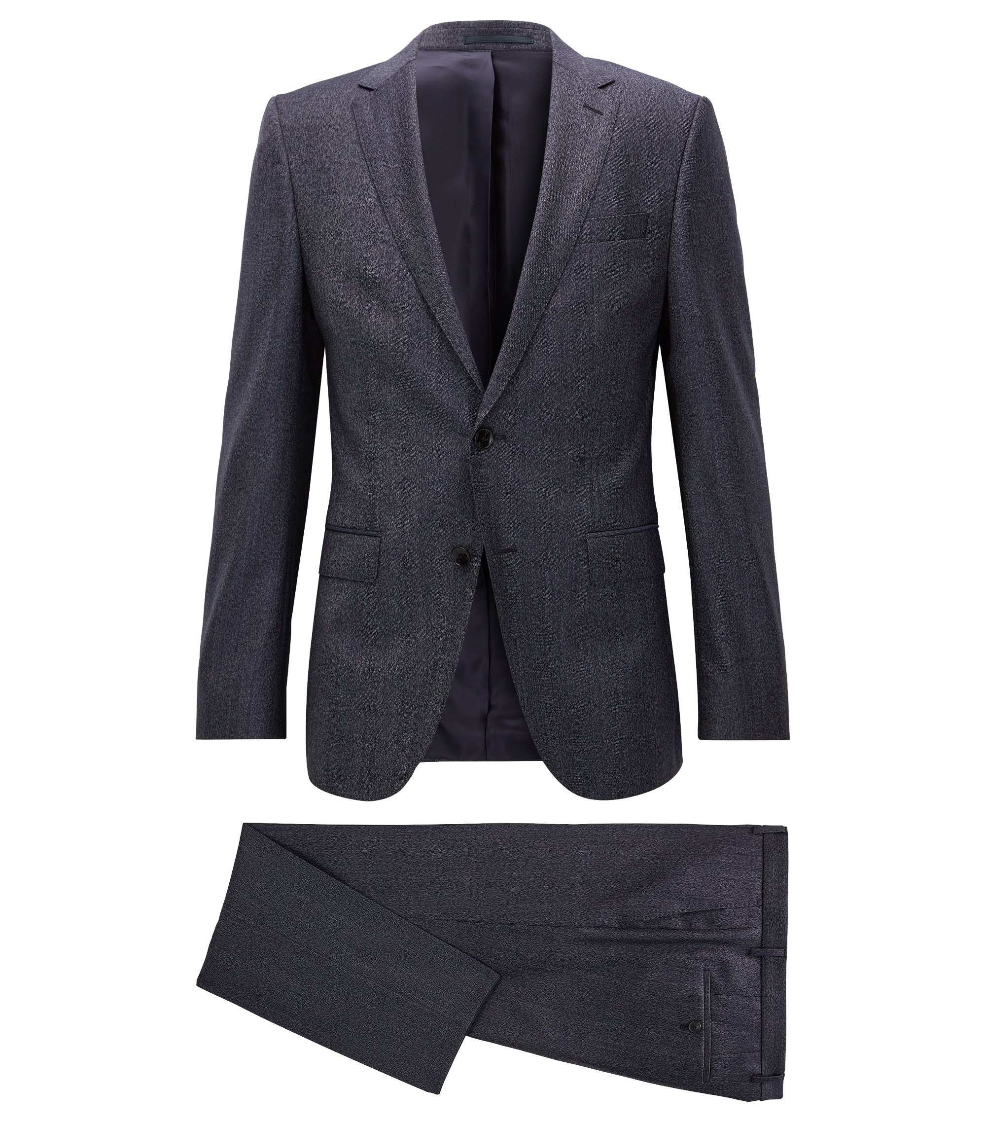 Melange Virgin Wool Suit, Slim Fit | Novan/Ben, Dark Blue