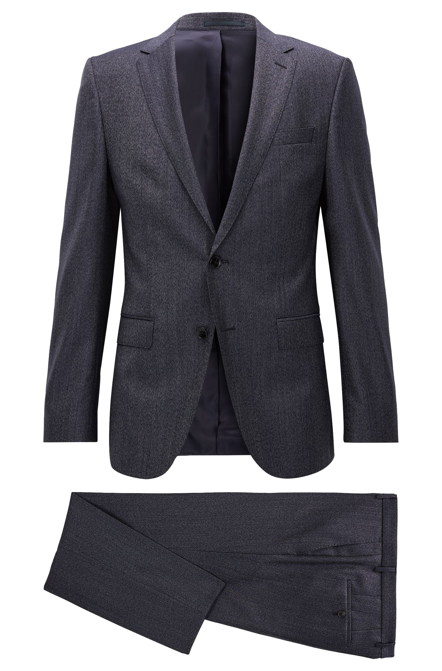 'Novan/Ben' | Slim Fit, Melange Super 100 Virgin Wool Suit