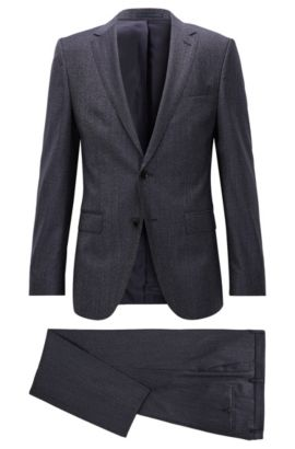 'Novan/Ben' | Slim Fit, Melange Super 100 Virgin Wool Suit, Dark Blue