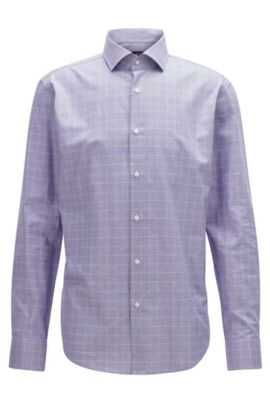 'Gordon' | Regular Fit, Plaid Cotton Dress Shirt, Purple