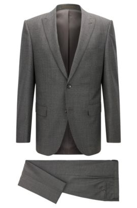 Glen Check Italian Virgin Wool Suit, Slim Fit | T-Jorman/Lary, Open Grey
