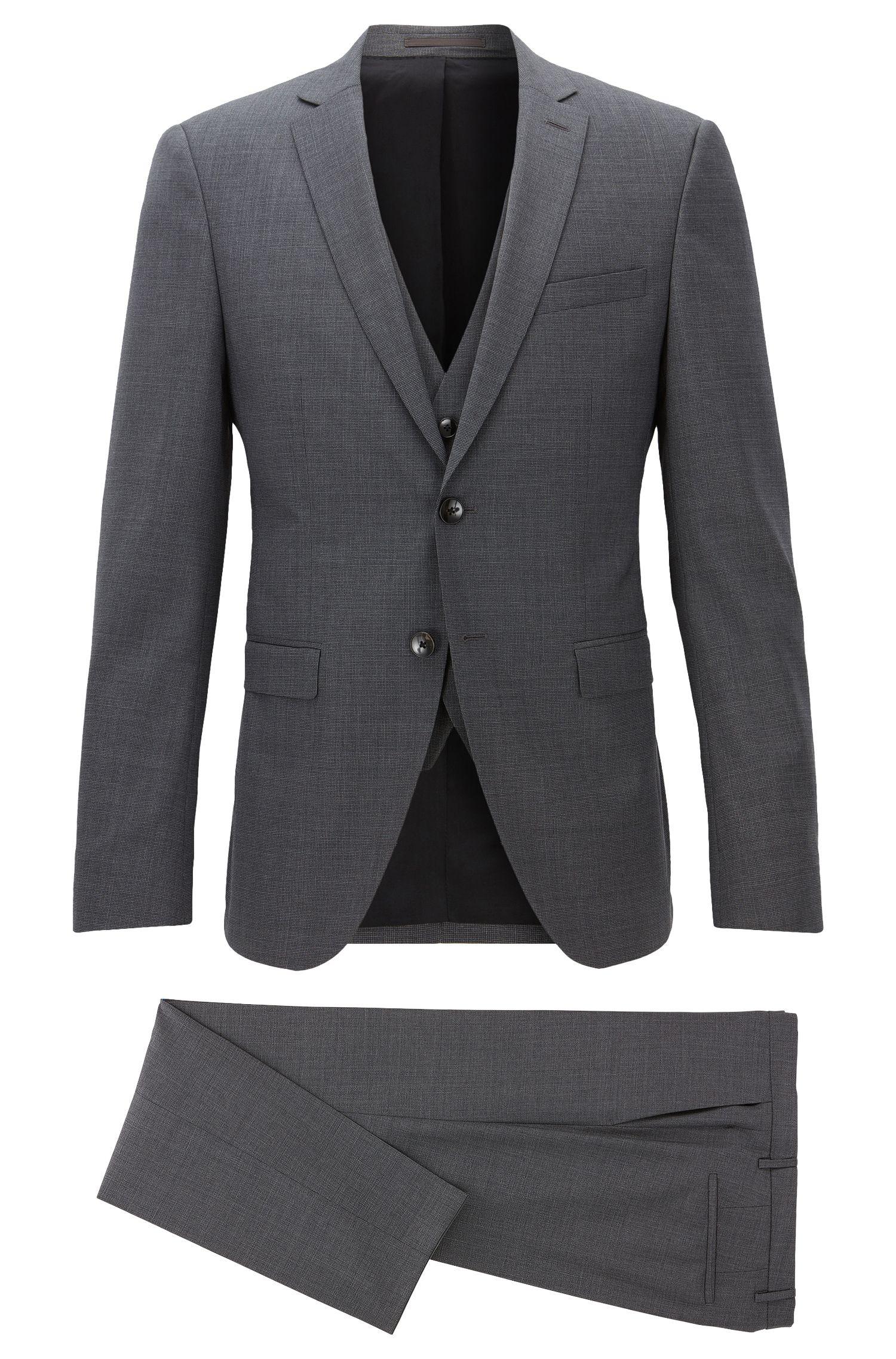 Basketweave Virgin Wool 3-Piece Suit, Extra Slim Fit   Reymond/Wenton WE