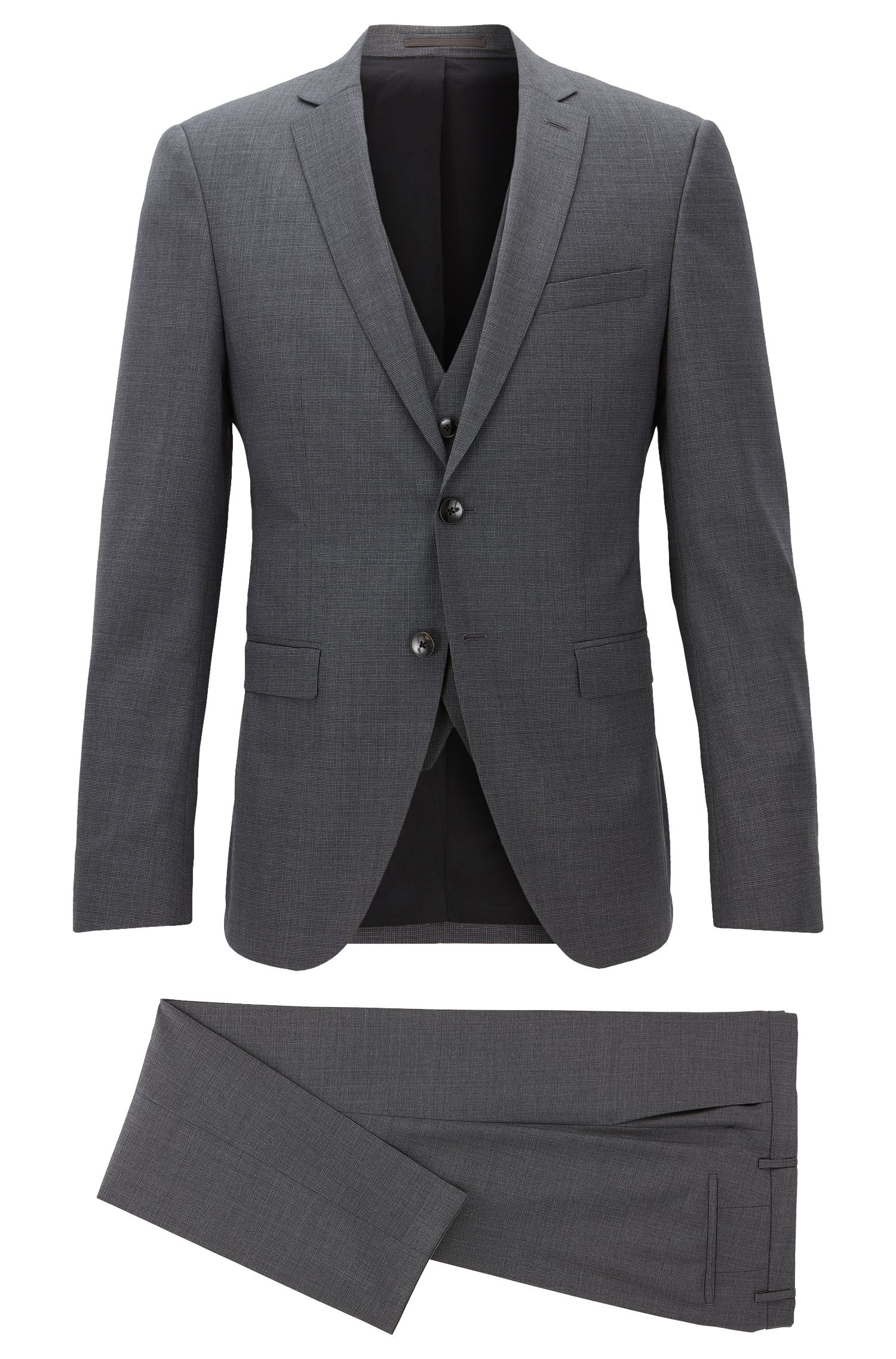 Virgin Wool 3-Piece Suit, Extra Slim Fit | Reymond/Wenton WE, Grey