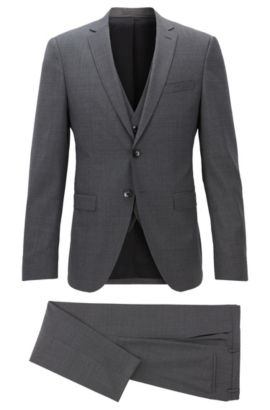 Basketweave Virgin Wool 3-Piece Suit, Extra Slim Fit | Reymond/Wenton WE, Grey