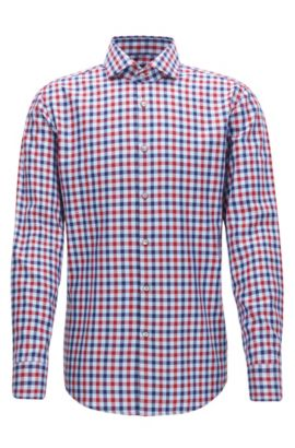 Check Cotton Dress Shirt, Slim Fit | Jason, Red