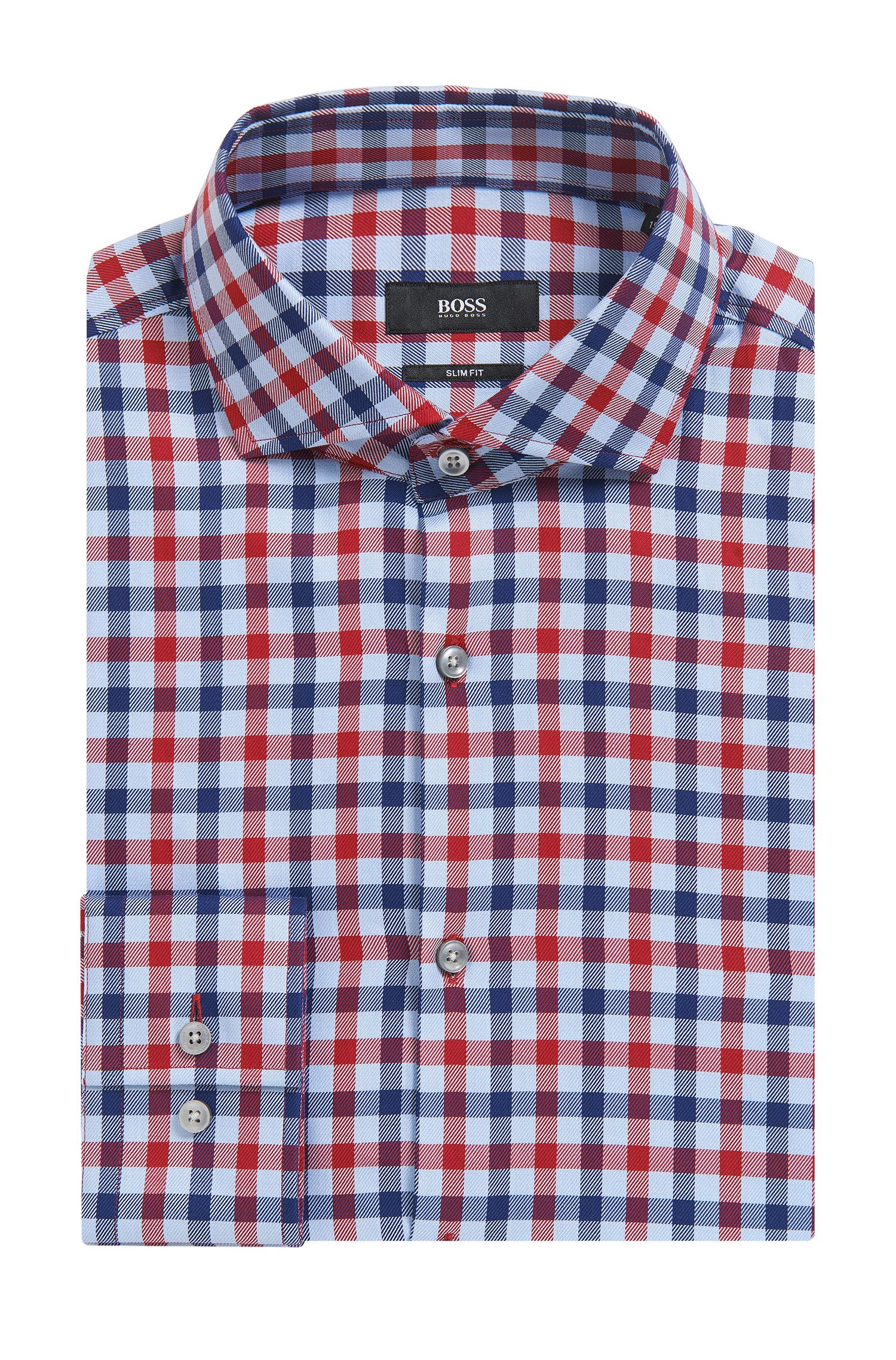 Check Cotton Dress Shirt, Slim Fit   Jason