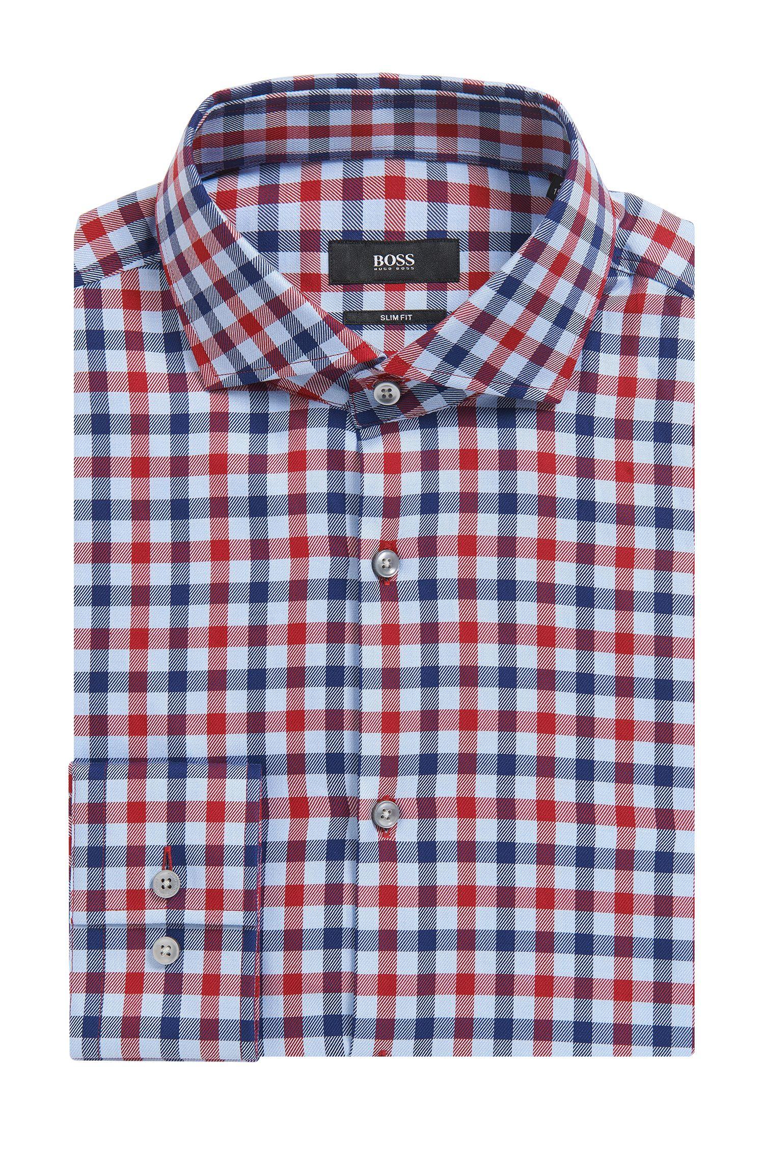 'Jason' | Slim Fit, Check Cotton Dress Shirt