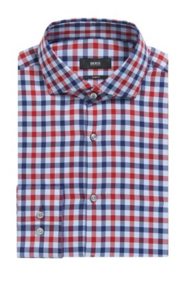 'Jason' | Slim Fit, Check Cotton Dress Shirt, Red