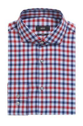'Jason'   Slim Fit, Check Cotton Dress Shirt, Red
