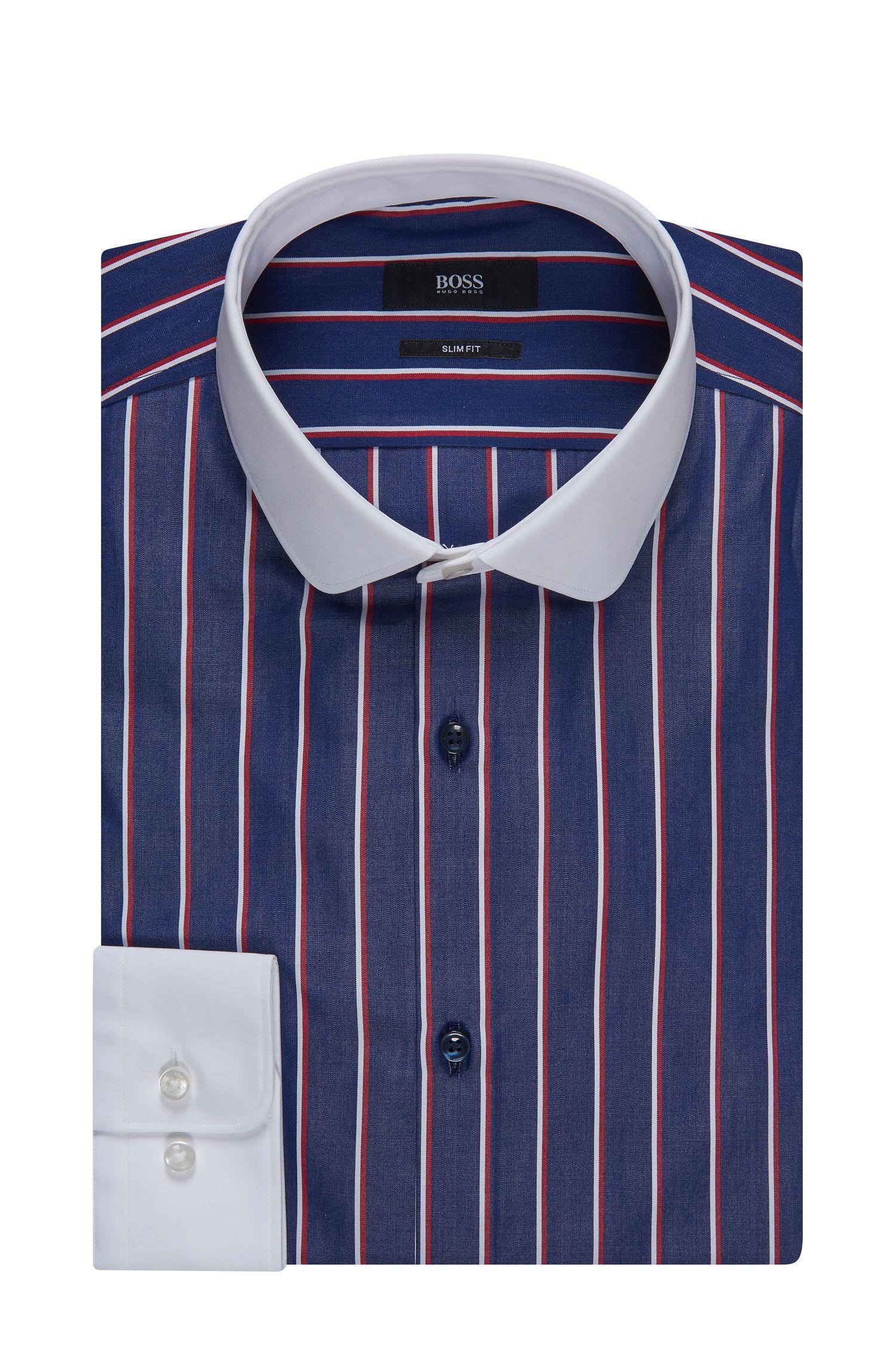 Contrast Easy Iron Cotton Dress Shirt, Slim Fit | Joshy