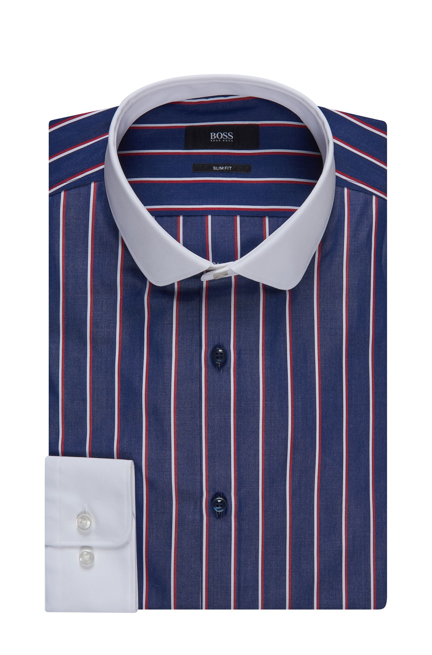 Contrast Easy Iron Cotton Dress Shirt, Slim Fit | Joshy