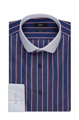 Contrast Easy Iron Cotton Dress Shirt, Slim Fit | Joshy, Dark Blue