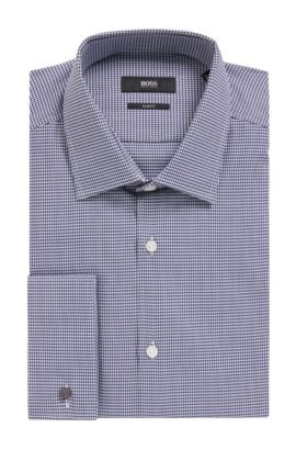 Houndstooth Dress Shirt, Slim Fit | Jacques, Dark Blue