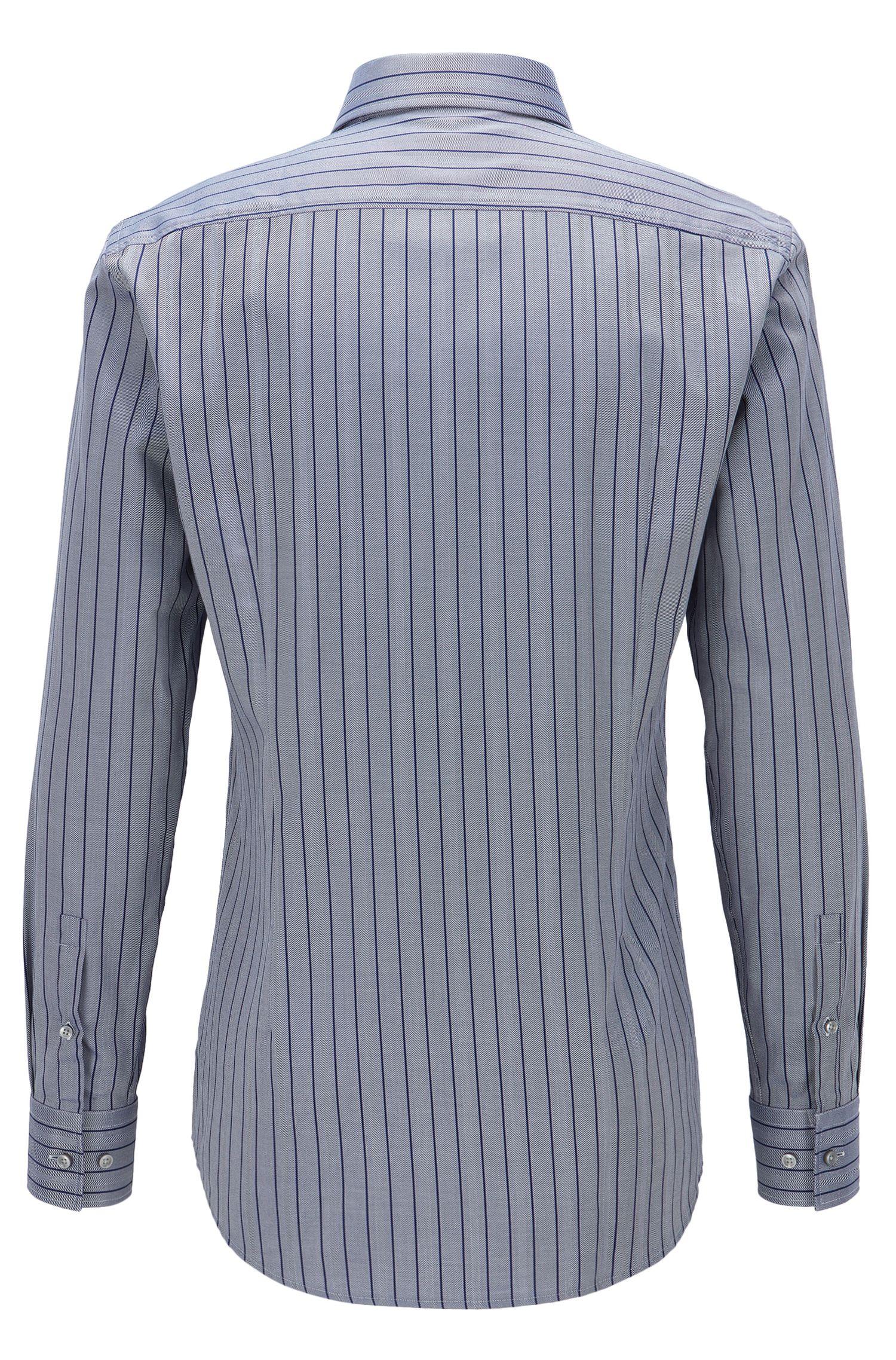 Striped Herringbone Cotton Dress Shirt, Slim Fit | Jason, Dark Blue