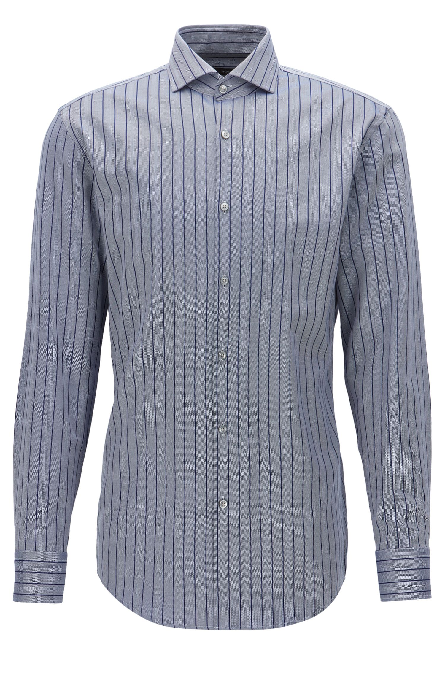 Striped Herringbone Cotton Dress Shirt, Slim Fit | Jason