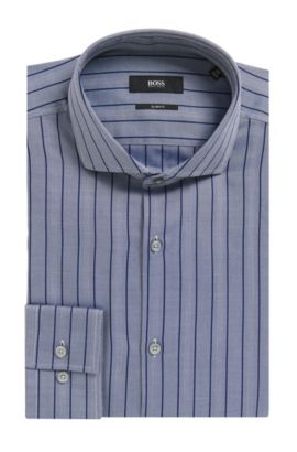 Striped Herringbone Cotton Dress Shirt, Slim Fit | Jason, Dark Blue