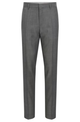 'Genesis' | Slim Fit, Crosshatch Virgin Wool Dress Pants, Grey