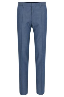 'Genesis' | Slim Fit, Crosshatch Virgin Wool Dress Pants, Blue