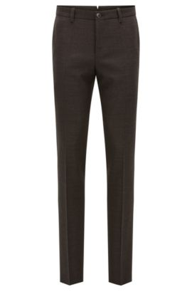 Basketweave Super 100 Virgin Wool Dress Pant, Slim Fit | T-Barrit, Dark Red